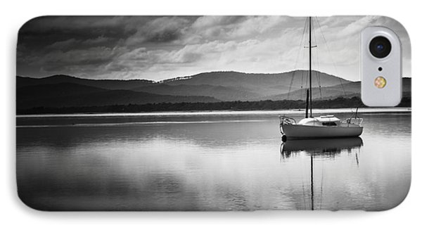 Yacht Sailing Boat With Sails Down In Port Sorell  IPhone Case by Jorgo Photography - Wall Art Gallery