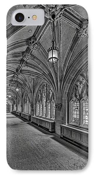 Yale University Cloister Hallway II Bw IPhone Case