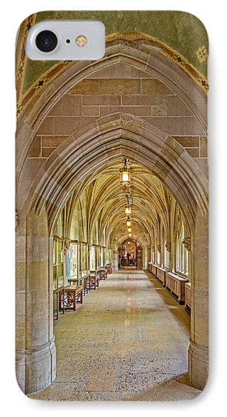 IPhone Case featuring the photograph Yale University Cloister Hallway by Susan Candelario