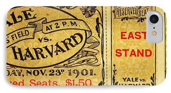 Yale Vs. Harvard Soldiers Field 1901 Vintage Ticket IPhone Case