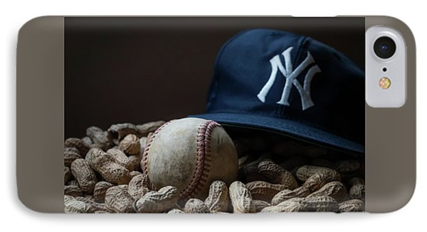 IPhone Case featuring the photograph Yankee Cap Baseball And Peanuts by Terry DeLuco
