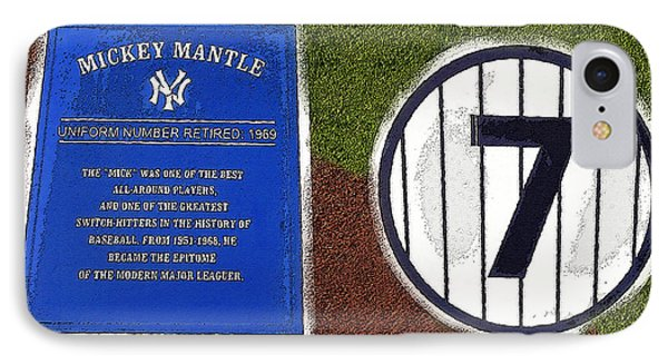 Yankee Legends Number 7 IPhone Case by David Lee Thompson