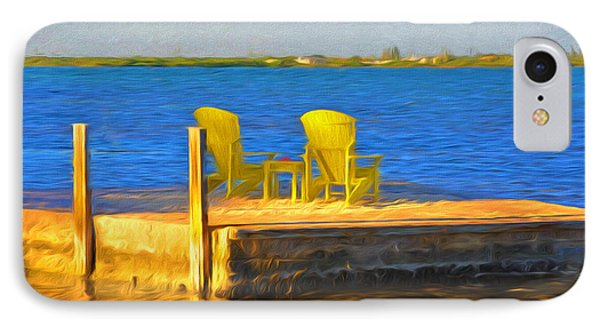 Yellow Adirondack Chairs On Dock In Florida Keys IPhone Case