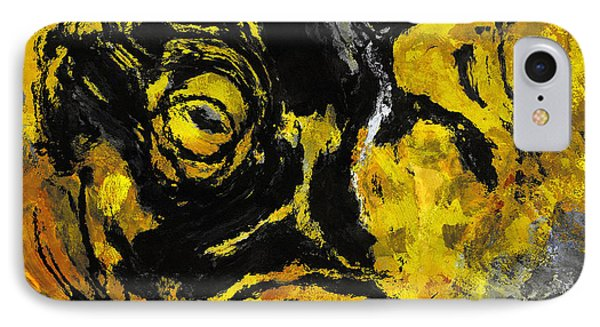 Yellow And Black Abstract Art IPhone Case