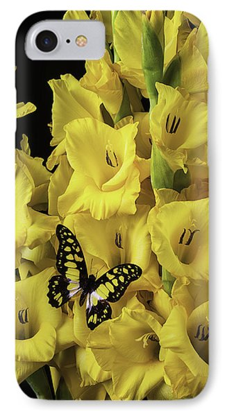 Yellow And Black Butterfly On Yellow Glads IPhone Case