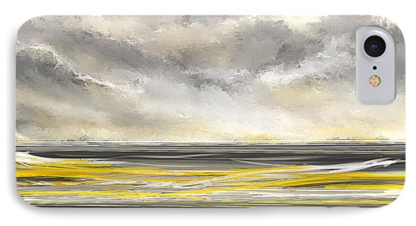 Yellow And Gray Seascape Art IPhone Case by Lourry Legarde