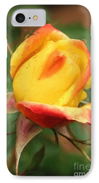 IPhone Case featuring the painting Yellow And Orange Rosebud by Smilin Eyes  Treasures