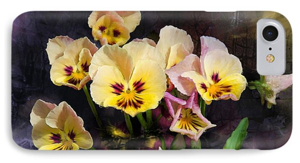 Yellow And Pink Pansies IPhone Case by Debra Baldwin