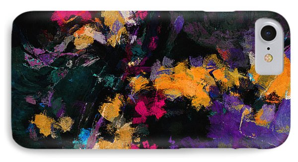 Yellow And Purple Abstract / Modern Painting IPhone Case by Ayse Deniz
