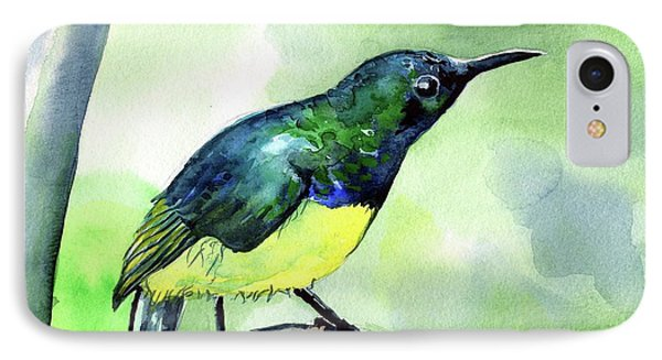 IPhone Case featuring the painting Yellow Bellied Sunbird by Dora Hathazi Mendes