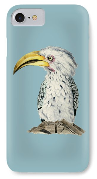 Yellow-billed Hornbill Watercolor Painting Phone Case by NamiBear