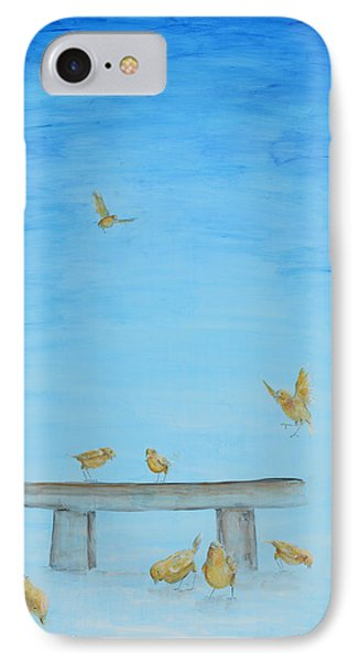 IPhone Case featuring the painting Yellow Birds In The Blue1 by Nik Helbig
