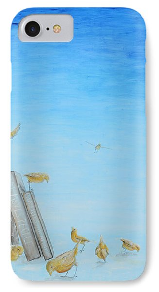 IPhone Case featuring the painting Yellow Birds In The Blue3 by Nik Helbig