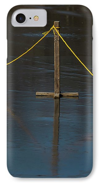 IPhone Case featuring the photograph Yellow Boundary On Ice by Gary Slawsky