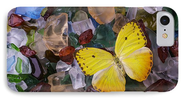 Yellow Butterfly On Sea Glass IPhone Case