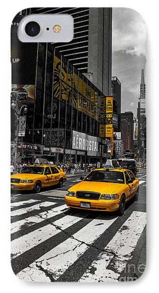 Yellow Cabs Cruisin On The Times Square  Phone Case by Hannes Cmarits