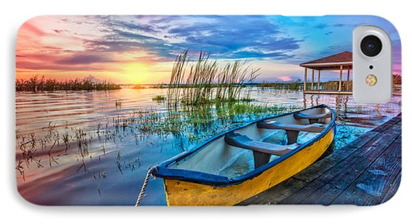 Yellow Canoe IPhone Case by Debra and Dave Vanderlaan