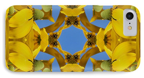 IPhone Case featuring the photograph Yellow Coneflower Kaleidoscope by Smilin Eyes  Treasures