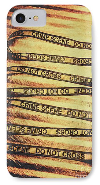 Yellow Crime Scene Ribbon On Metal Background IPhone Case