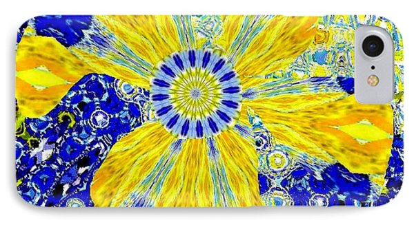 Yellow Flower On Blue Phone Case by Navo Art