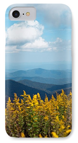 Yellow Flowers Along The Blue Ridge Mountains IPhone Case by Kim Fearheiley