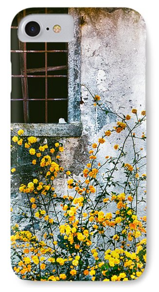 IPhone 7 Case featuring the photograph Yellow Flowers And Window by Silvia Ganora