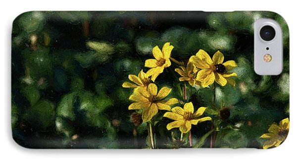 IPhone Case featuring the photograph Yellow Flowers, Black Bee by Travis Burgess