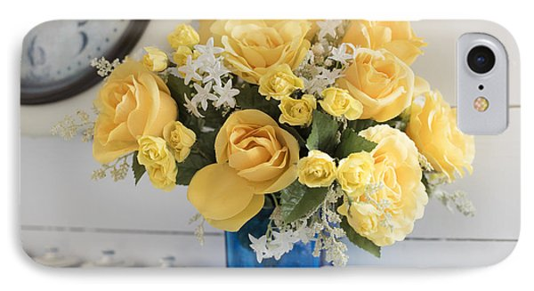 Yellow Flowers In A Blue Vase IPhone Case by Juli Scalzi