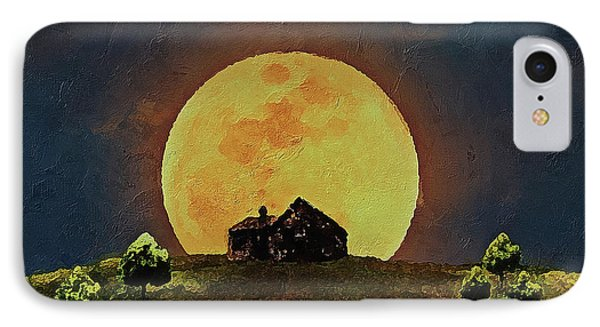 IPhone Case featuring the digital art Yellow Full Moon  by PixBreak Art