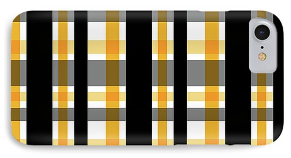IPhone Case featuring the photograph Yellow Gold And Black Plaid Striped Pattern Vrsn 1 by Shelley Neff