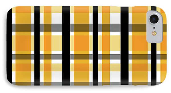 IPhone Case featuring the photograph Yellow Gold And Black Plaid Striped Pattern Vrsn 2 by Shelley Neff