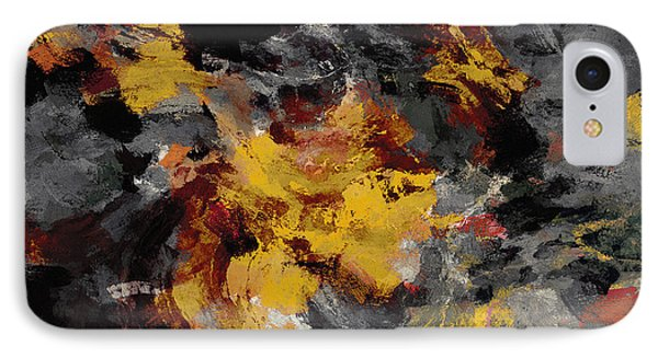 IPhone Case featuring the painting Yellow / Golden Abstract / Surrealist Landscape Painting by Ayse Deniz