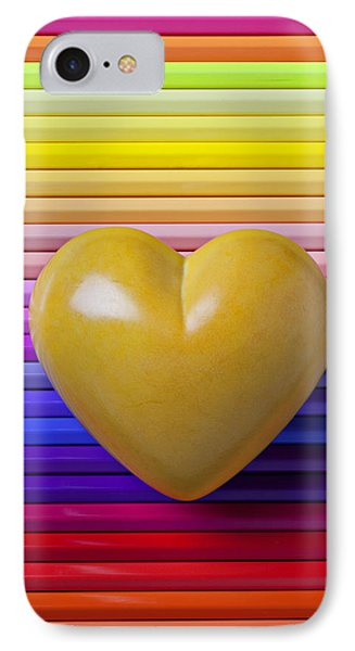 Yellow Heart On Row Of Colored Pencils Phone Case by Garry Gay