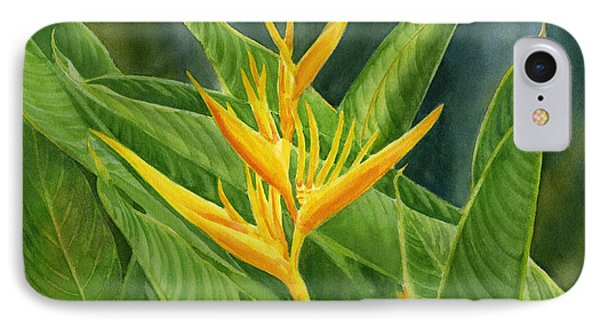 Yellow Heliconia Paradise With Leaves IPhone Case by Sharon Freeman