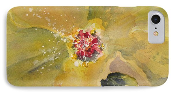 IPhone Case featuring the painting Yellow Hibiscus by Sandra Strohschein