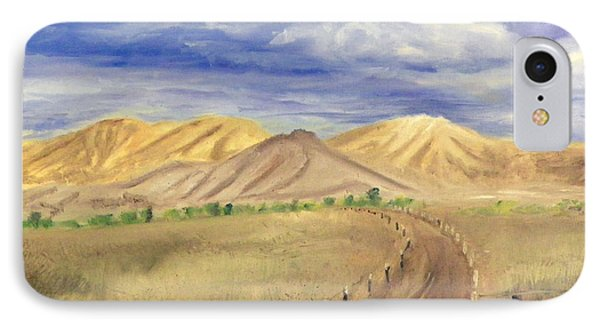 IPhone Case featuring the painting Yellow Hills Of Jensen by Sherril Porter
