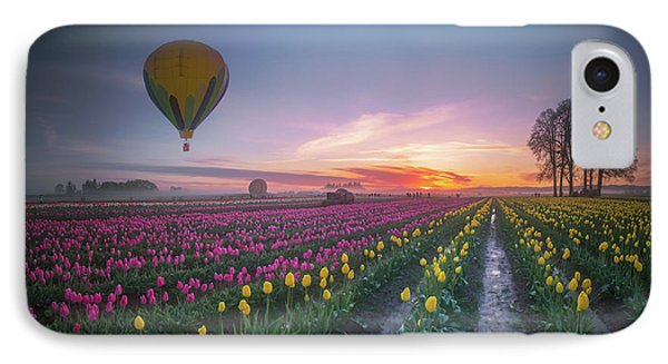 IPhone Case featuring the photograph Yellow Hot Air Balloon Over Tulip Field In The Morning Tranquili by William Lee