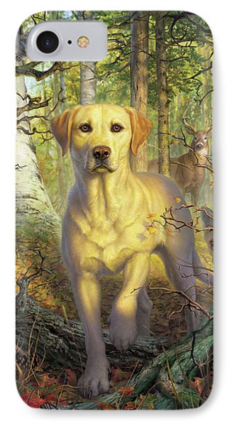 Squirrel iPhone 7 Case - Yellow Lab In Fall by Mark Fredrickson