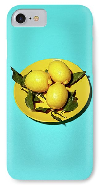 Yellow Lemons On Cyan IPhone 7 Case by Oleg Cherneikin