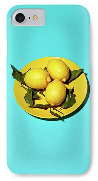 Yellow Lemons On Cyan IPhone Case by Oleg Cherneikin