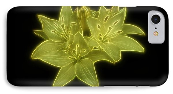 Yellow Lilies On Black Phone Case by Sandy Keeton
