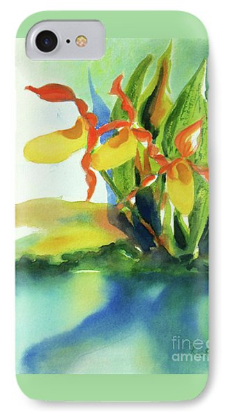 IPhone Case featuring the painting Yellow Moccasin Flowers by Kathy Braud