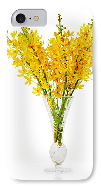 Yellow Orchid In Crystal Vase IPhone Case by Atiketta Sangasaeng