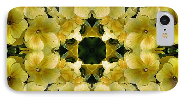 IPhone Case featuring the digital art Yellow Primrose Kaleidoscope by Smilin Eyes  Treasures