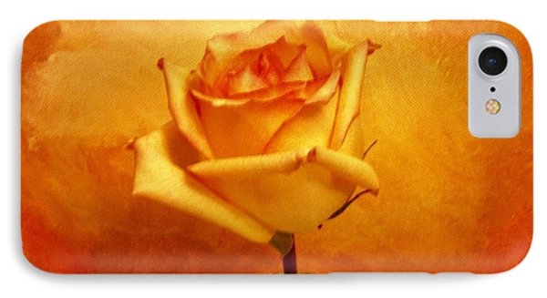 IPhone Case featuring the photograph Yellow Red Orange Tipped Rose by Marsha Heiken