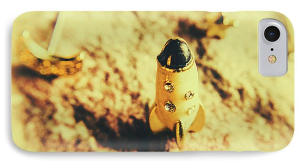 Yellow Rocket On Planetoid Exploration IPhone Case