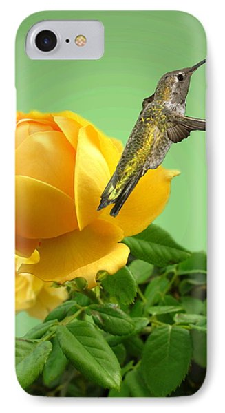Yellow Rose And Hummingbird 2 IPhone Case by Joyce Dickens