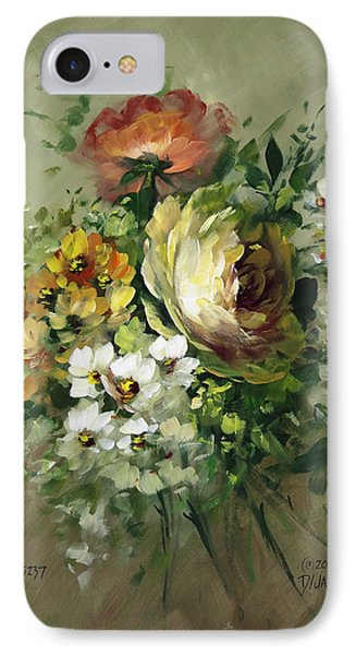 Yellow Rose And White Blossoms Phone Case by David Jansen