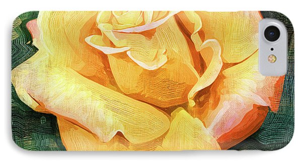 Yellow Rose Bloom In Oil IPhone Case