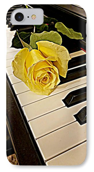 Yellow Rose On Piano Keys IPhone Case